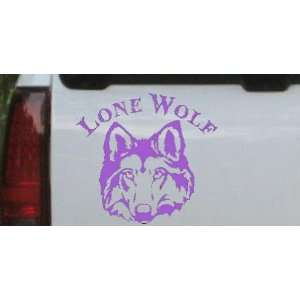 Purple 8in X 7.3in    Lone Wolf Head Biker Car Window Wall
