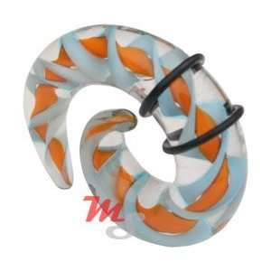 Orange Ribbon Pyrex Glass Spiral Talon 10g 10 gauge NEW: Jewelry