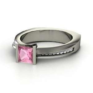 Postmodern Princess Ring, Princess Pink Tourmaline 14K White Gold Ring