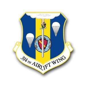 US Air Force 314th Airlift Wing Decal Sticker 3.8 6 Pack