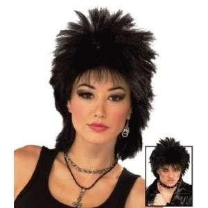 1980s Rock Star Black Fancy Dress Wig Inc FREE Wig Cap Toys & Games