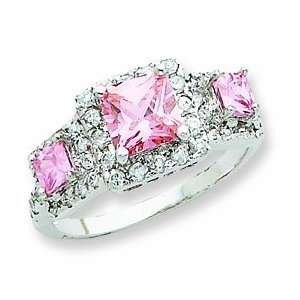 Sterling Silver Pink Square Cz Ring, Size 7 Jewelry