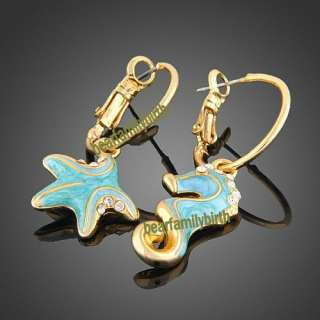 &seahorse Swarovski crystal 18k yellow Gold Gp earrings 153
