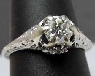 Antique Art Deco 71pt Diamond Solitaire 14K White Gold Filigree