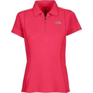 North Face Womens HyDry Polo Shirt Top Red Large L NEW