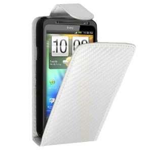 HTC Evo 3D Carbon Fibre Leather Flip Case White + Screen