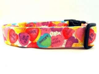 Candy Conversation Hearts Pink Valentines Dog Collar