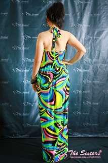 NWT Womens Halter Colorful Party Summer Long Maxi Dress Sz XL XXL 3XL