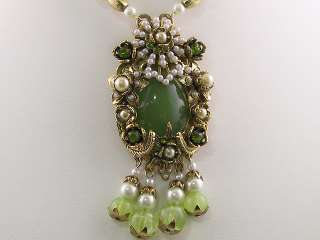 Green Simulated Pearl Crystal Necklace Earrings s0282