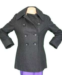 MICHAEL KORS WOMENS WOOL BLEND DOUBLE BREASTED PEA COAT NWT(BLACK