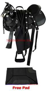 New 17 Cordura Western Horse Pleasure Trail Saddle Texas Star Free Pad