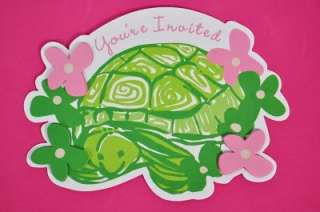 LILLY DIE CUT GREEN TORTOISE w/ PINK & GREEN FLOWERS ON WHITE