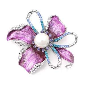 with Silver and Blue Swarovski Crystals and White Fashion Pearl (4669