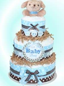 Brown Dog Themed Diaper Cake For Boy Baby Shower Center Piece