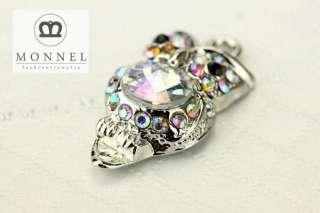 H530 Cute AB Crystal Wise Owl Charm Pendant (3 pcs)