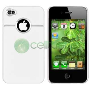 Deluxe Hard Case Cover For iPhone 4 4G White Chrome+Privacy LCD Screen
