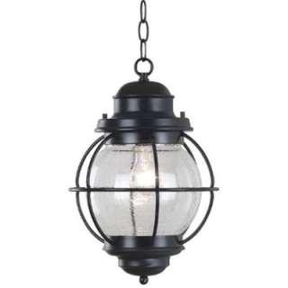 NEW 1 Light Nautical Outdoor Pendant Lighting Fixture, Black, Clear