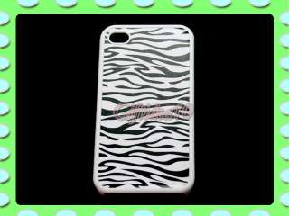 White Black Zebra Hard Back Case Cover For iPhone 4S 4G