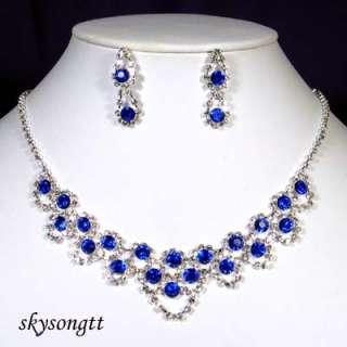 Swarovski Crystal Sapphire Pendant Necklace Set S1376N