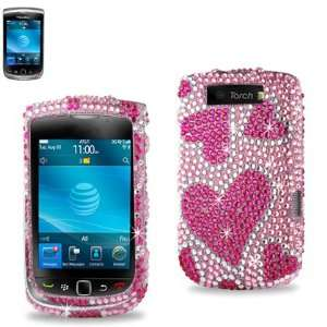 on Full Cover Case for Blackberry Torch 9800 (9800 Bling Hearts Pink