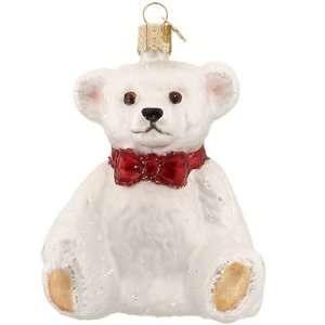 Happy Teddy Bear White Christmas Ornament