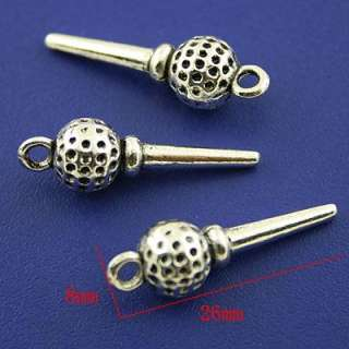 description12pcs Tibetan silver a golf ball on a tee charms h1687