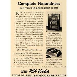 Music RCA Victor Radio 9U Records   Original Print Ad Home & Kitchen