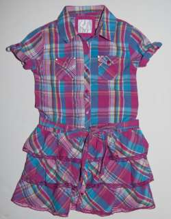 JUSTICE   Girls Pink & Blue Plaid Dress with Ruffles   Size 12