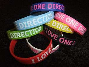 Direction Wristband Silicone Bracelet I Love 1 Direction 1D WORLDWIDE