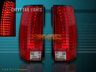 SUBURBAN RED LED TAIL LIGHTS ESCALADE STYLE 2007 2008 2009 2010 2011