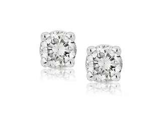 20 CT ROUND DIAMOND STUD EARRINGS 14K WHITE GOLD