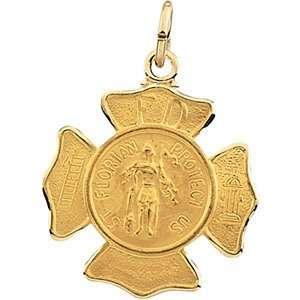 Karat Yellow Gold St. Florian Medal Pendant Diamond Designs Jewelry
