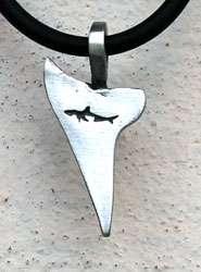 SHARK tooth Sea life SILVER Pewter Pendant w PVC Choker