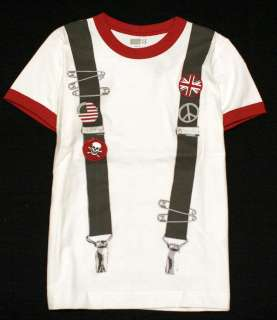 Crazy8 Suspender Punk Oi Union Jack American Flag Skull Ringer T Shirt