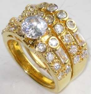 r1072 24KT YELLOW GOLD GPSIMULATED DIAMOND RING SET