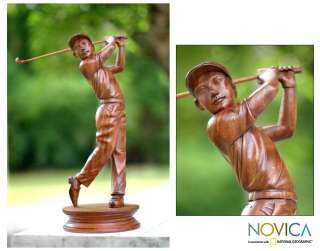 GOLF PLAYER~Hand carved Wood Sculpture~Bali ART Statue