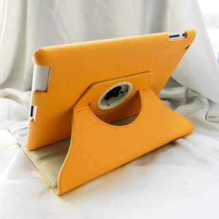 iPad 2 Magnetic Smart Cover Leather Case Rotating Stand