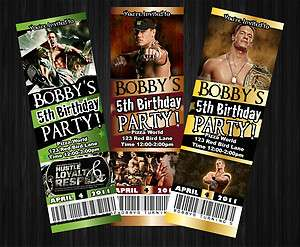 JOHN CENA WWE CUSTOM BIRTHDAY PARTY TICKET INVITATIONS