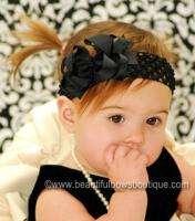 Black Hair Bow Headband Infant Toddler Baby Girl