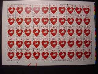 2814 LOVE DOVE ROSE HEART US STAMP MNH FULL MINT SHEET