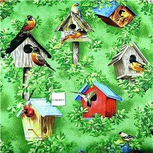 FabriQuilt Cotton Fabric Birds & Bird Houses, Green BTY