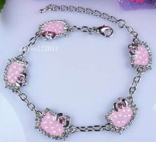 NEW Hello Kitty Bracelet Crystal Bling Rhinestone SUPER CUTE PINK
