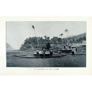 1902 Print Fiji Islands Canoes Indigenous Sailing People