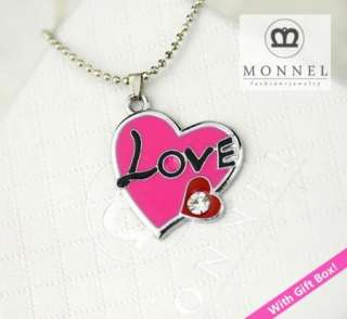 F168 Pink LOVE Heart Charm Pendant Necklace (+Gift Box)