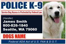 Custom Made ID Badge Card for Working Dog and Handler  Police K9 #1