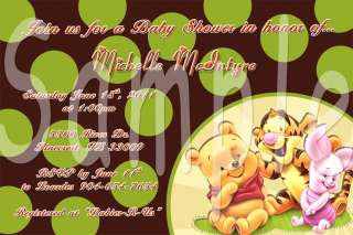 Baby Shower Winnie Pooh Friends Custom Photo Invitations Cards with