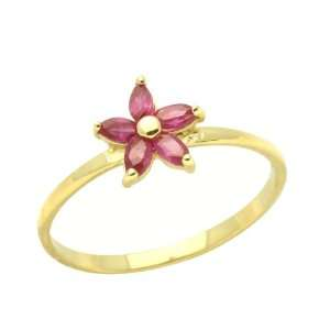 Ring Red Cluster Yellow Gold Ring Size 2 To 3 For Baby, Kids And Teens