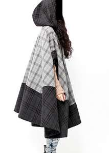 Hand Made Poncho Cape Coat Jacket in Wool Fabric, With Hoodie, S   L