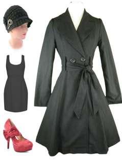 Vtg Inspired BLACK Wool Double Breasted BELTED Coat w/ Full Skirt