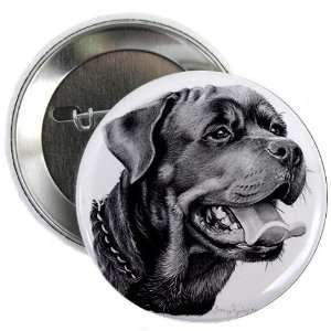 Rottweiler DOG Pencil Sketch Art 2.25 inch Pinback Button Badge